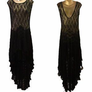 🚬 Sexy Black Stretch Lace Maxi Dress - Medium